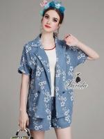 พร้อมส่ง ~ Korea Design By Lavida fashionista floral embroidery blue suit short pants set