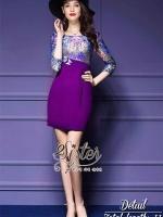 พร้อมส่ง ~ 2Sister Made, Sweet Purple Elegant Beauty Dress Adorn With Mini Butterflies