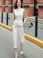 พร้อมส่ง ~ Lady Katy Smart Casual White Guipure Lace Jumpsuit