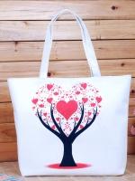 กระเป๋าผ้าแฟชั่น สารพัดประโยชน์ มีซิป ด้านในบุผ้าอย่างดี ลายต้นไม้หัวใจ