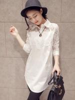 เสื้อตัวยาว สีขาว คอปก ช่วงอกและแขนตัดต่อลูกไม้