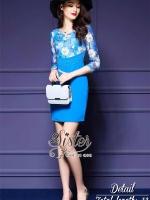 พร้อมส่ง ~ 2Sister Made, Sweet Blue Vintage Premium Lady Dress
