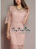 พร้อมส่ง ~ Luxury Vintage embroidered Flowers Lace Dress