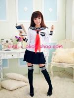 ชุดนักเรียนญี่ปุ่นแขนยาวสีขาวคอสเพลย์การ์ตูนญี่ปุ่น