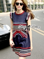 Lady Kim Tribal Embroidered Cotton Dress
