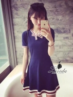 พร้อมส่ง ~ Wool blue bow tie mini dress