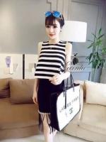พร้อมส่ง ~ Black and white striped shirt pearl set