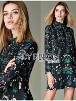 พร้อมส่ง ~ Lady Rayna Urban Jungle Printed High-Neck Black Dress