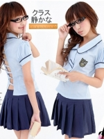 ชุดนักเรียนญี่ปุ่นแขนตุ๊กตาสีฟ้าเว้าหลังน่ารักเซ็กซี่เบาๆ