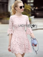 พร้อมส่ง ~ Lady Lindsay Feminine Chic Baby Pink Lace Dress