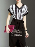 พร้อมส่ง ~ 2Sister Made, Black Elegant Stylish Korea Dress