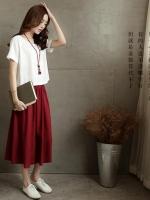 เสื้อสีขาว +กระโปรงแดง เอวยางยืด