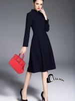 พร้อมส่ง ~ Cliona made'Dark Navy Mini Ponits Elegant Dress