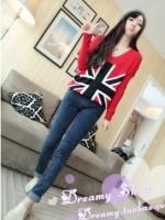 เสื้อแฟชั่นแขนยาวลายธงอังกฤษ สีแดง