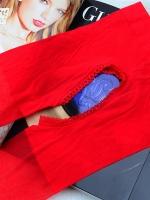 ถุงน่องเปิดเป้าสีแดง