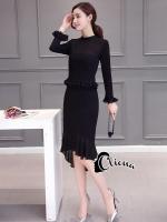 พร้อมส่ง ~ Cliona made'Black Cocktail Dress