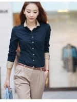 Hot ขายดี++เสื้อเชิ๊ต แขนยาวไหล่จับจีบ กระดุมด้านหน้า มีสายผูกโบว์ แขนยาว สีน้ำเงินกรม