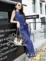 พร้อมส่ง ~ 2Sister made, Navy Color Jeans Elegant Jumpsuit Style Lady Natalie