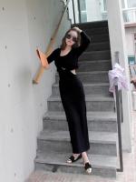 เดรสยาวเกาหลี เข้ารูปสีดำ เซ็กซี่ ผ้านิ่มยืดหยุ่นได้ดีมาก (made in korea)