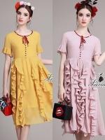 พร้อมส่ง ~ Priceless pretty sleeve rope neck ornamentally dress