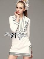 พร้อมส่ง ~ Lady Allison Chinoise Embroidered Cotton Shirt Dress