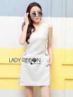 พร้อมส่ง ~ Lady Lucy Minimal Chic Metal Loop Ribbon White Dress