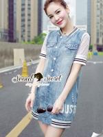 พร้อมส่ง ~ Seoul Secret Say's... Mic Net Sleeve Shirt Outer DRess