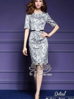 พร้อมส่ง ~ 2Sister Made, Green Premium Dress with ELegant Lovely White Rose Print