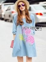 พร้อมส่ง ~ Lady Elizabeth Modern Chinese Roses Printed Denim Dress