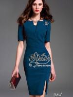 พร้อมส่ง ~ 2sister made, Blue Sapphire Color Luxury Dress Adorn White Mini Diamonds