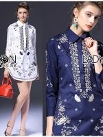 พร้อมส่ง ~ Lady Annie Smart Casual Monochrome Embroidered Shirt Dress