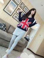 เสื้อแฟชั่นแขนยาวลายธงอังกฤษ สีน้ำเงินเข้ม