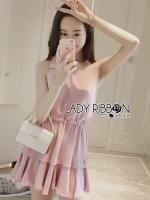พร้อมส่ง ~ Lady Estelle Sweet Feminine Ruffle Ribbon Baby Pink Dress