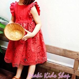 เดรสเด็กผู้หญิงสีแดง เดรสเด็กระโปรงผ้าลูกไม้ New Phelfish