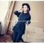 เสื้อเชิ๊ตแฟชั่น คอปกแขนยาว ตัดต่อชายลูกไม้ มีสายรูดปรับได้ กระดุมหน้าอก สีดำ thumbnail 1