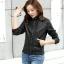 Pre-Order เสื้อแจ็คเก็ตหนัง เสื้อแจ็คเก็ตผู้หญิง เข้ารูปพอดีตัว คอจีน สีดำ แต่งซิปเก๋ แฟชั่นเกาหลี thumbnail 1