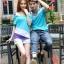 เสื้อคู่รัก ชายหญิง สีฟ้าตัดต่อเทาม่วง Korean version couple shirt personality thumbnail 2