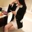 Pre order เสื้อสูทแฟชั่นเกาหลี ปกสูท แขนยาว แต่งด้วยผ้าต่างสีที่ปกและกระเป๋า สีดำ thumbnail 1