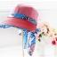 Pre-order หมวกแฟชั่น หมวกแก็ปปีกกว้าง หมวกฤดูร้อน กันแดด กันแสงยูวี สีแดงแตงโมแต่งด้วยผ้าพิมพ์ลายดอกไม้ thumbnail 2