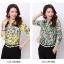 Pre-order เสื้อเชิ้ตชีฟองซีทรู แขนยาว เสื้อทำงาน พิมพ์ลายดอกไม้สีเขียว แฟชั่นสไตล์เกาหลี thumbnail 5