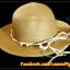 หมวกสาน คุณนาย สีน้ำตาล พันเชือกน้ำตาล ครีม ร้อยลูกปัด สวยหวานมากๆ thumbnail 1
