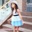 เสื้อผ้าเด็กสไตล์คุณหนู ชุดราตรีเด็ก ชุดออกงานเด็ก Phelfish สีฟ้า thumbnail 6