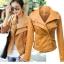 พรีออเดอร์ เสื้อแจ็คเก็ตหนัง เสื้อแจ็คเก็ตผู้หญิง เข้ารูปพอดีตัว คอปก สีคัสตาร์ด แต่งซิปเก๋ แฟชั่นเกาหลี thumbnail 1