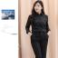 (Pre-order) เสื้อเชิ้ตดำ เสื้อเชิ้ตแขนยาวสีดำผู้หญิง ไซส์ใหญ่ thumbnail 3