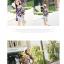 เสื้อแฟชั่นลายดอกบอสซัม ผ้าชิฟฟอนพริ้วๆตัดต่อชายเลเยอร์ น่ารักๆสีน้ำเงินเข้ม thumbnail 5