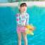 ชุดว่ายน้ำ แขนยาวรูปหัวใจ กางเกงขาสั้นสีชมพู thumbnail 1