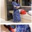 KTFN ชุดเดรสยีนส์เข้ารูป ลายดอกตามภาพ กระดุมแดง พร้อมเข็มขัด thumbnail 4