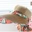 Pre-order หมวกแฟชั่น หมวกแก็ปปีกกว้าง หมวกฤดูร้อน กันแดด กันแสงยูวี สีกาแฟแต่งด้วยผ้าพิมพ์ลายดอกไม้ thumbnail 5