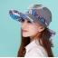 Pre-order หมวกแฟชั่น หมวกแก็ปปีกกว้าง หมวกฤดูร้อน กันแดด กันแสงยูวี สีฟ้าอ่อนแต่งด้วยผ้าพิมพ์ลายดอกไม้ thumbnail 4