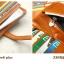 Pre-Order กระเป๋าสตางค์ผู้หญิง ใบยาว 3 พับถอดไส้ในออกได้ สีน้ำตาล หนังแท้ หนังวัว สไตล์เกาหลี JUNLAN thumbnail 5